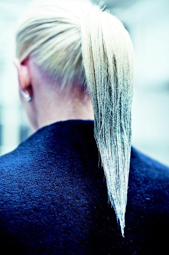 Glitter dipped ponytail