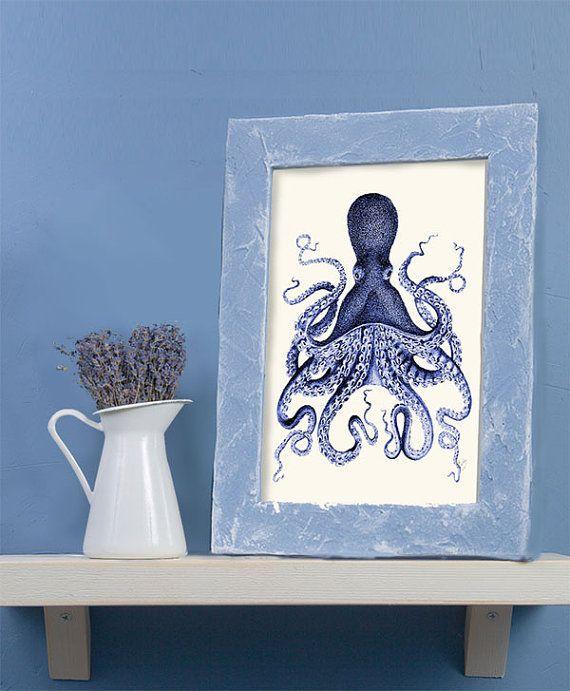 Octopus Print Blue 3 octopus illustration Nautical door NauticalNell - 500 punten