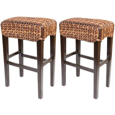 BirdRock Home Abaca Backless Bar Stools, Set of 2, Brown