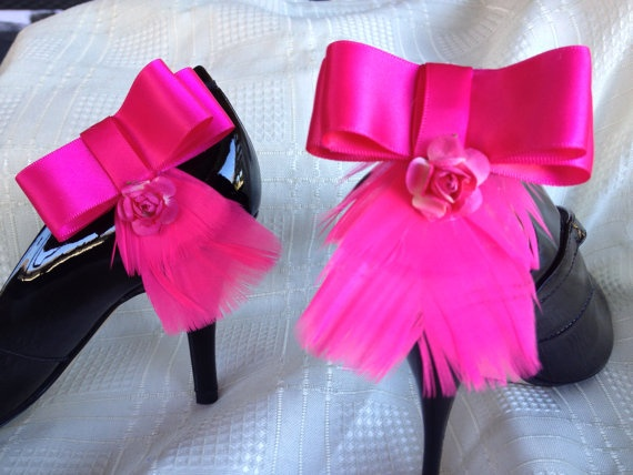 Hot pink ribbon feather and rose shoe clip by DesignedbyDivas, $34.95
