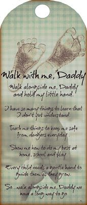 Free printable tag and scrapbook page Walk With Me Daddy