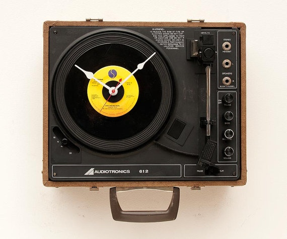 Recycled record player clock by pixelthis on Etsy, $129.00