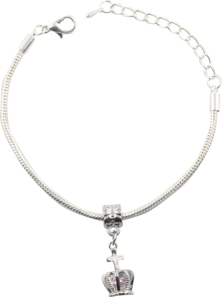 Crown with Jewel Silver Plated Snake Chain Charm Bracelet