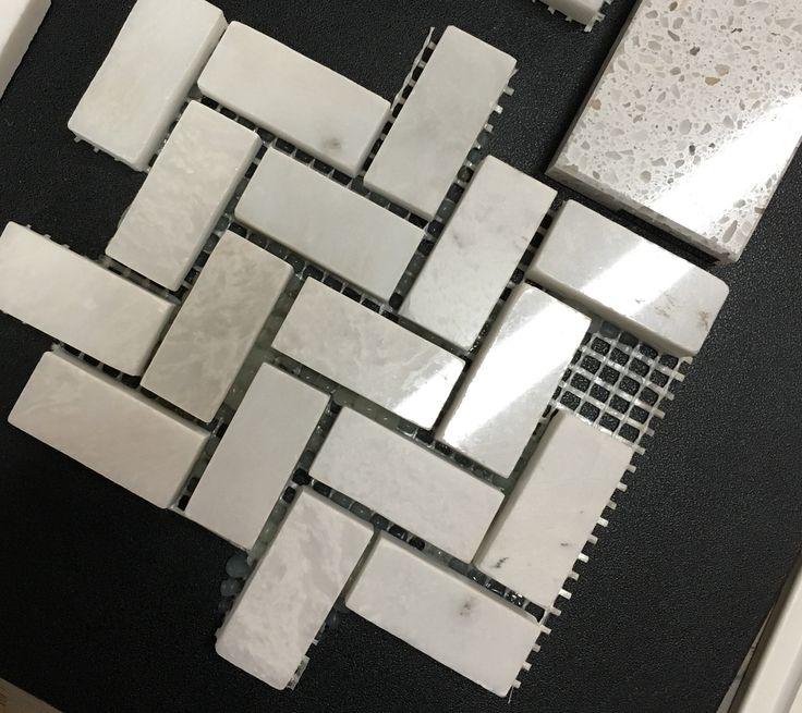 Marble Mosaic in Iceberg backsplash, herringbone