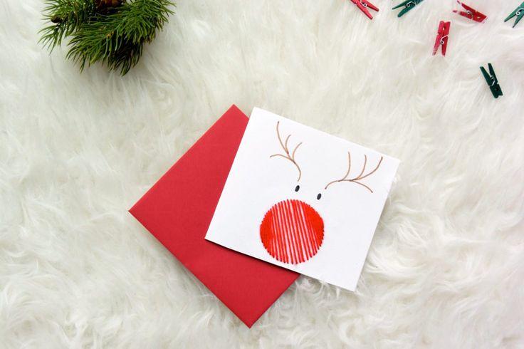 Wat is er nu leuker dan een zelfgemaakt kerstkaartje? Voor kerstmis maakte ik deze Rudolph kerstkaartjes, toch nog altijd the most famous reindeer of all.