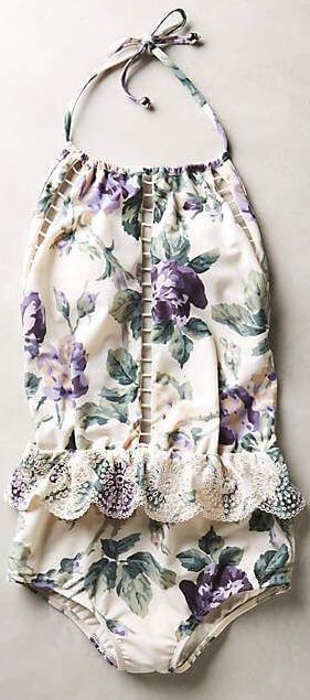 Floral prints are a great idea to add some sort of french twist to your beach looks. They make everything look more romantic, and retro, especially if the swimsuit is printed in soft, muted colors. Let's talk about the styling details. A sewn in tie belt or some pretty ruffles on the waist, add definition and focus on a flat body, while the prints themselves are flattering if you have some roundness you don't want to show. Keep reading on femalejungle.com