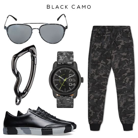 Black Camo Style Set: Aviator Sunglasses by Italia Independent, Tech Fleece Camo Pants by Nike, Camo Watch by Diesel, Camo Sole Sneaker by Comme des Garçons SHIRT x The Generic Man, Arcus carabiner by @svorndesign // #camo #black #military #style #militaryfashion #camofashion #carabiner #diesel #tactical #mensfashion