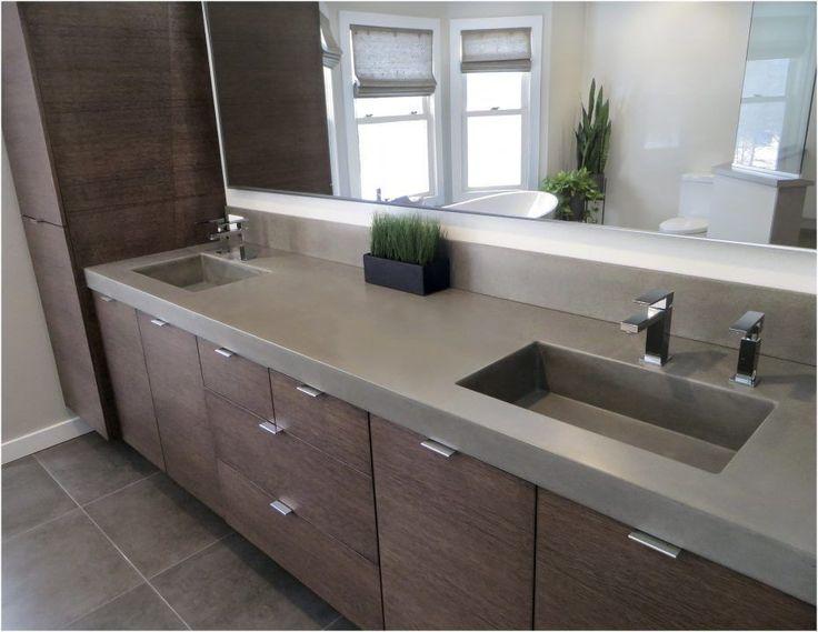Bad. Riesige Glasfenster zeitgenössische Beton Waschbecken von Trueform cremig Beton Arbeitsplatte moderne Waschschüssel moderne Waschbecken Becken Waschbecken …