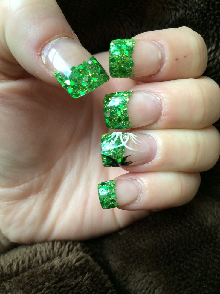 Green Glitter Tips With A Black White And Silver Design For Saint Patricks Day My Nails