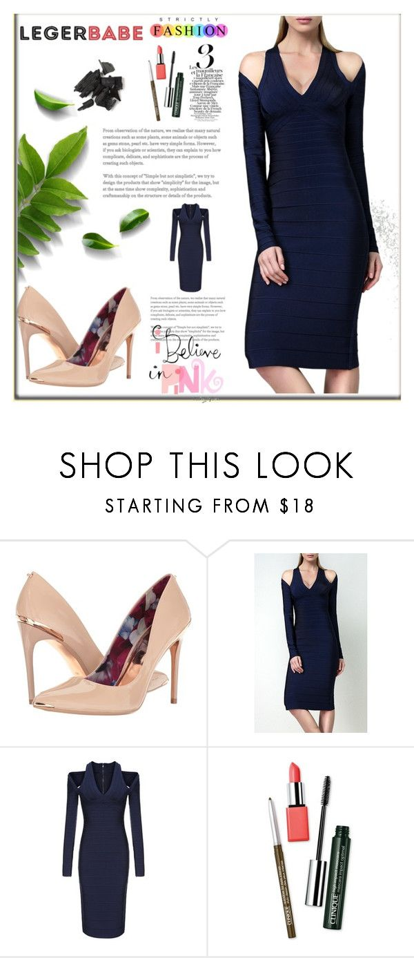 """""""Legerbabe long sleeve party dresses juniors"""" by legerbabedress ❤ liked on Polyvore featuring Ted Baker and Clinique"""