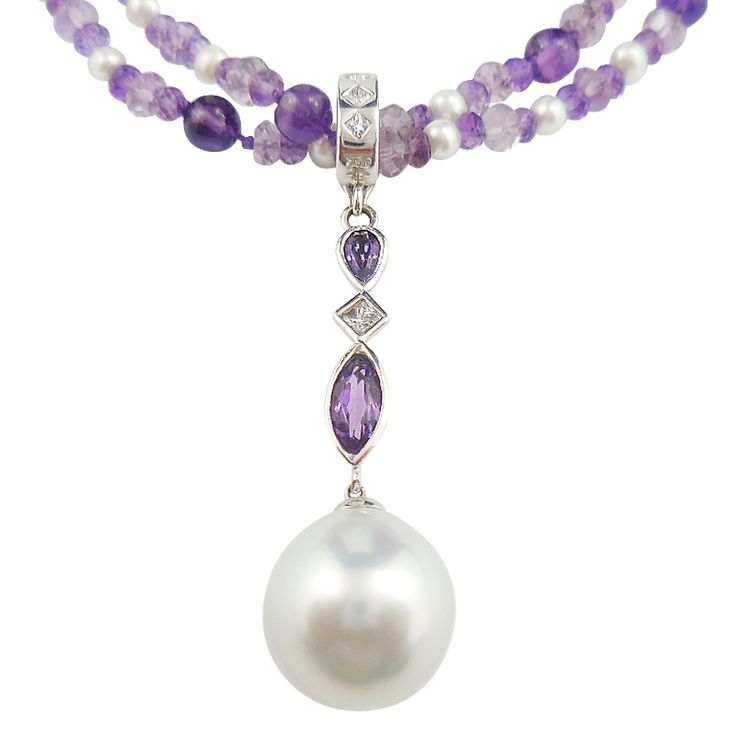 #Amethyst, South Sea #Pearl and #Diamond #Enhancer  Hand made in 18ct White #Gold, this exclusive Natalie Barney #Jewellery #pendant showcases a gorgeous round 12mm South Sea Pearl. Add to it a marquise and a pear-shaped amethyst, a square princess diamond and a diamond set enhancer and you get a stunning yet very easy to wear pendant.