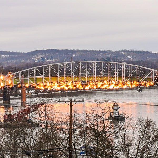 Video of the Hulton Bridge Implosion - January 2016 #Pittsburgh #Pgh #Fire #Bridge #Architect