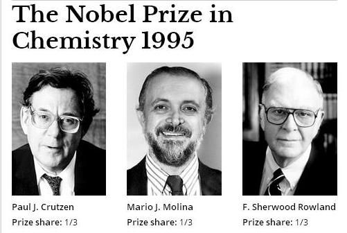 "The Nobel Prize in Chemistry 1995 was awarded jointly to Paul J. Crutzen, Mario J. Molina and F. Sherwood Rowland ""for their work in atmospheric chemistry, particularly concerning the formation and decomposition of ozone""."