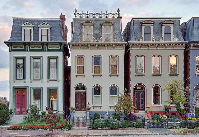Lafayette Square Neighborhood, in Saint Louis, Missouri, USA - houses