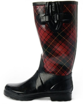Chic Plaid Rain Boots for Ladies