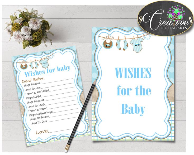 WISHES FOR BABY activity advice for baby shower with boy clothes and blue color theme printable, Jpg Pdf, instant download - bc001 #babyshowergifts #babyshowerideas