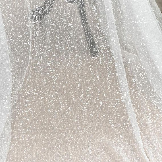 Best quality Glitter Tulle fabric per metre 150cm wide White