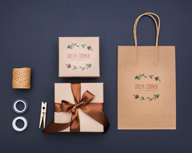 Download Top View Mock Up Wrapped Gifts And Shopping Bag Gift Wrapping Gifts Plastic Bag Packaging