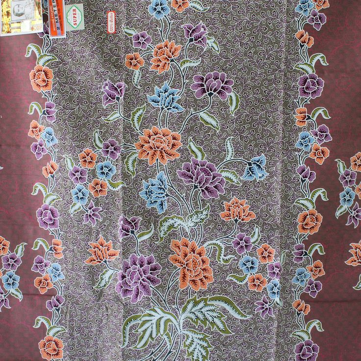 purple flowers cotton traditional Indonesian Batik style,batik ratna dewi sarong fabric.2 metrer by TheThailand on Etsy