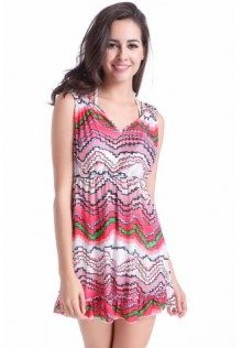 Red Wave Line Print Fashion Mesh Breathable Cover Up