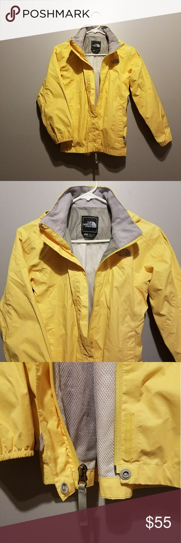 Girls M North Face Yellow Rain Jacket Windbreaker Yello rain jacket or windbreaker from the north face. Excellent condition. You can put away hood in collar. Worn less than 10 times before it was outgrown. Offers welcome. The North Face Jackets & Coats Raincoats