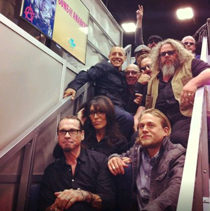 Seriously Theo? Is there a reason you decided to sit on Dayton's lap for this photo? Son Of Anarchy cast