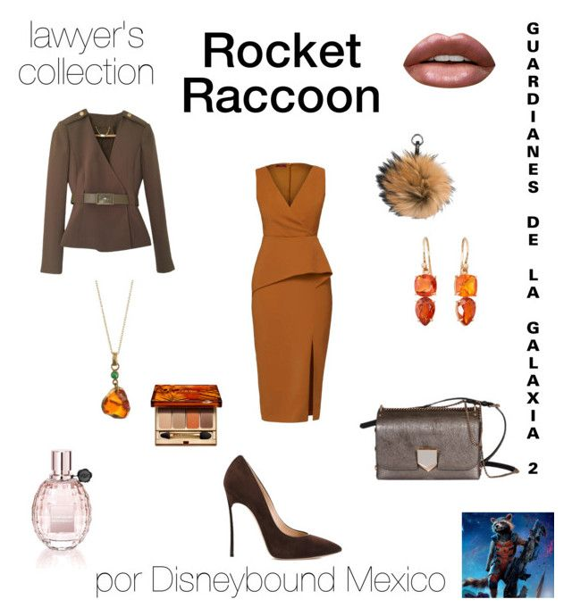 """Rocket Raccoon"" by disneybound-mexico on Polyvore featuring Casadei, Elisabetta Franchi, Jimmy Choo, WtR, N.Peal, Irene Neuwirth, Viktor & Rolf, Huda Beauty and Clarins"