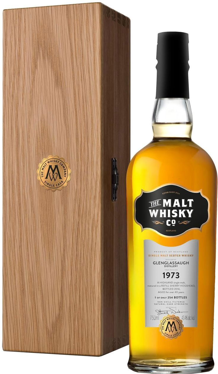 The Malt Whisky Co. Glenglassaugh 40 Year Single Malt Scotch #Whisky. Distilled in 1973 and aged for 40 years, this single malt #scotch was bottled at cask strength. | @Caskers
