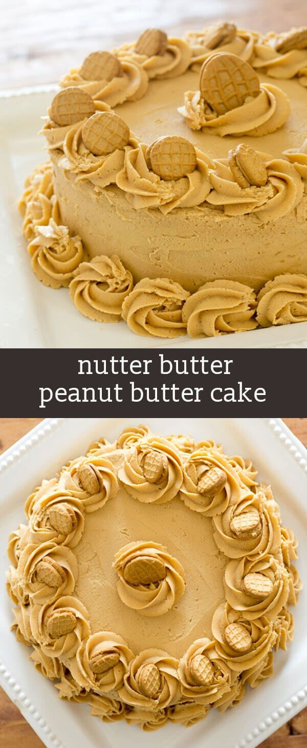 This Nutter Butter Peanut Butter Cake is simpler than it looks because it starts with a boxed cake mix. You'll love the rich peanut butter frosting that tastes like the cream inside Nutter Butters. peanut butter cake recipe / nutter butter cake / homemade peanut butter frosting via @tastesoflizzyt