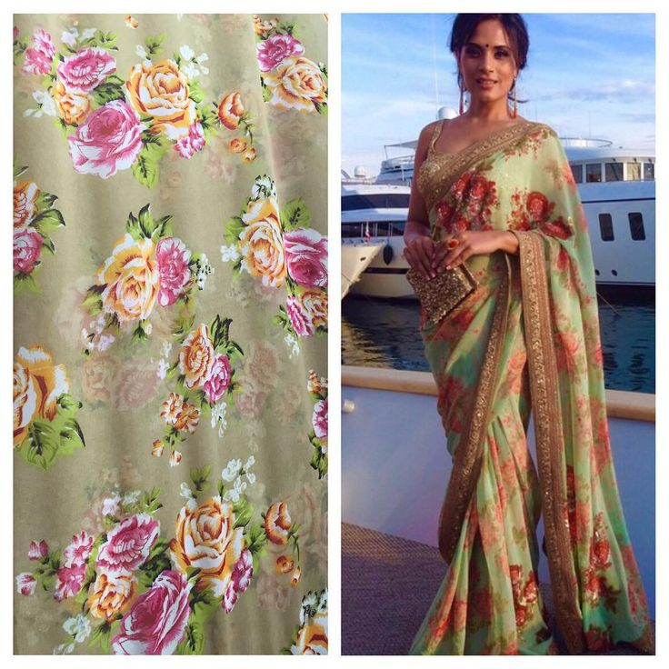 Yet another flower print saree in georgette To purchase mail us at houseof2@live.com or whatsapp us on +919833411702 for further details