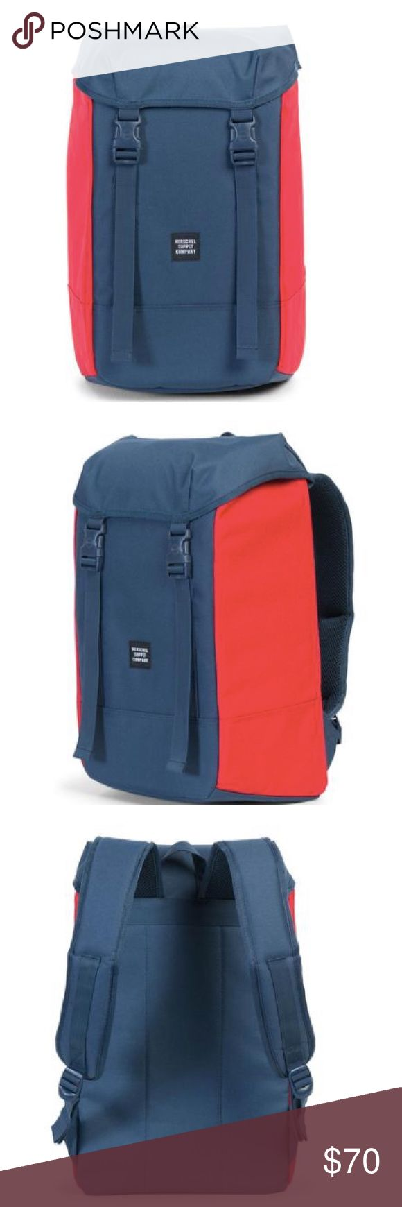 "NWT Herschel Supply Co. Journey Backpack Navy/Red Featuring a cinch closure concealed by a slender top flap, this backpack unites everyday practicality with clean design.  •Signature striped fabric liner •15"" laptop sleeve and internal key clip •Adjustable drawstring closure •Clip fastened adjustable webbing straps •Contoured shoulder straps •Reinforced base •ID woven label  DIMENSIONS 19.25""(H) x 11.5""(W) x 7""(D), 24L Herschel Supply Company Bags Backpacks"