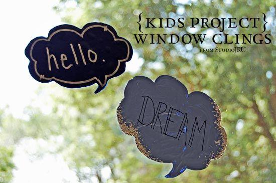 Window-Clings-a-Tutorial-from-StudioJRU: Easy Kids Crafts, Crafts Ideas, Window Clings A Tutorials, Diy Craft, Crafts Tutorials, Fun Crafts, Fun Window Clings Tutorials, Clings Crafts, Diy Window