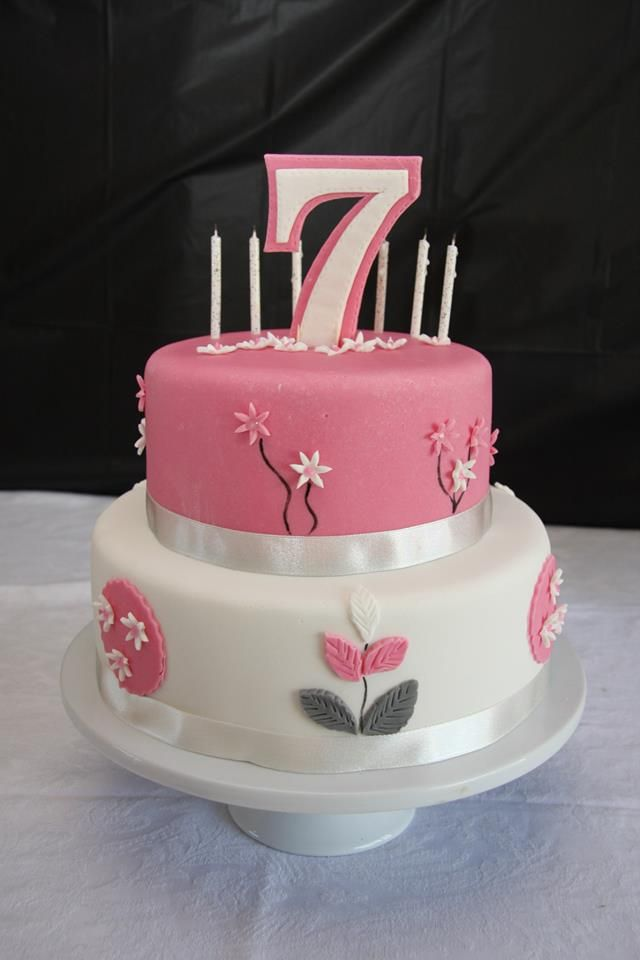 Pleasant Pink White And Grey Flower Birthday Cake For Ciaras 7Th Birthday Personalised Birthday Cards Epsylily Jamesorg