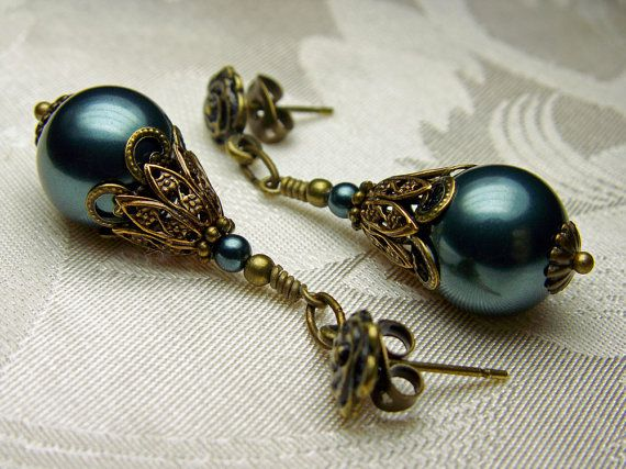 Peacock Blue Tahitian Pearl Swarovski Crystal Bronze Earrings Steampunk Jewelry Antique Vintage Victorian Bridal Style