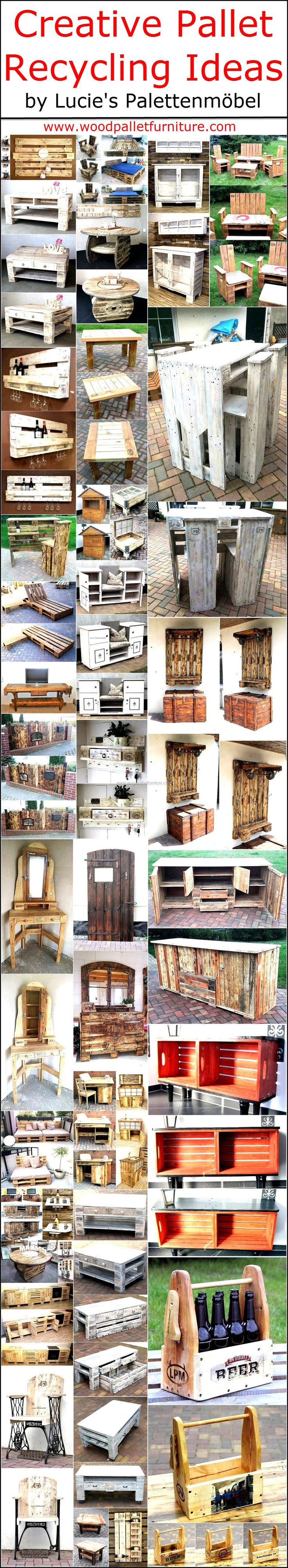 Every person thinks differently, that's why every single individual who invests time in creating the items using the wooden pallets end up in getting something unique. It is not possible that the handmade furniture made up of wood pallets by a person matches the design or style of another person, but it is easy to copy by those who know the art of modifying the pallets.  Here are some creative wooden pallet recycling ideas by Lucie's Palettenmöbel, which are praiseworthy and can impress…