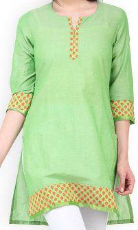 Green Chanderi Kurti (100000061684)