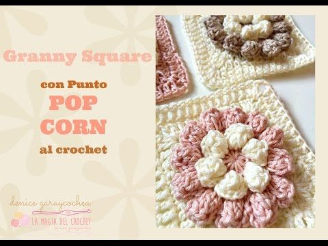 EASY crochet pretty puff stitch flower blanket - flower granny square tutorial - YouTube