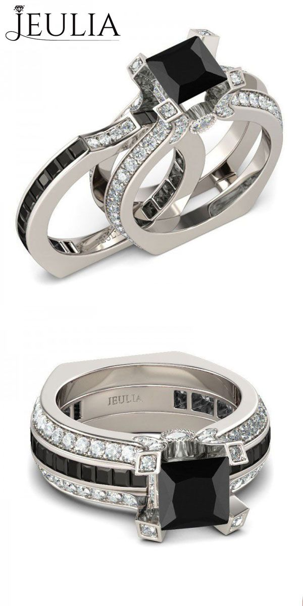 Two-in-one Princess Cut Black Diamond Women's Wedding Ring #jeulia Set/Engagement Ring