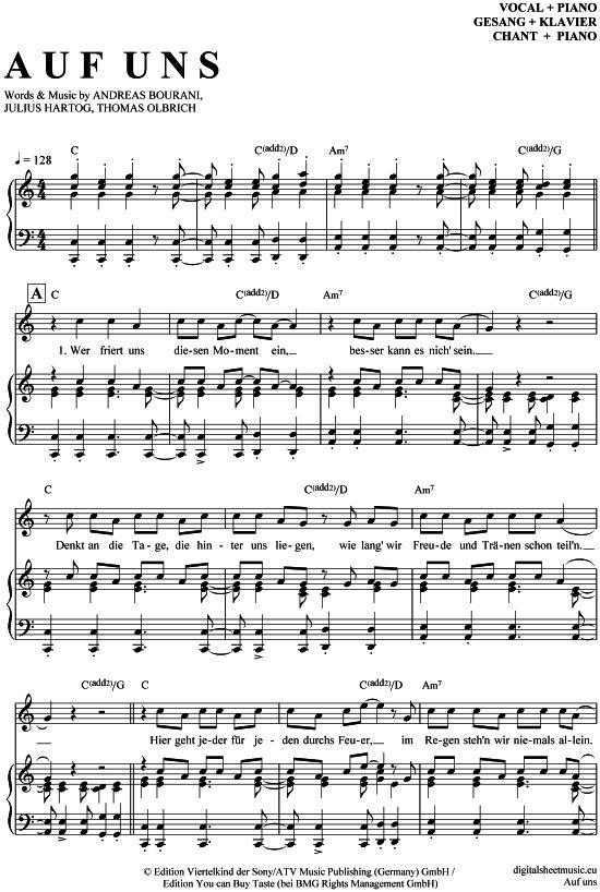>>> KLICK auf die Noten um Reinzuhören <<< Auf uns (Klavier + Gesang) von Andreas Bourani für Noten und Playback zum Download für verschiedene Instrumente bei notendownload Blockflöte, Querflöte, Gesang, Keyboard, Klavier, Klarinette, Saxophon, Trompete, Posaune, Violine, Violoncello, E-Bass, und andere ...