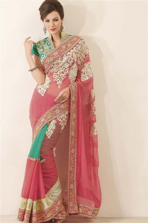 Add this scintillating Pink Georgette embroidered Saree in your closet @ FLAT 50% off. No coupon code required.