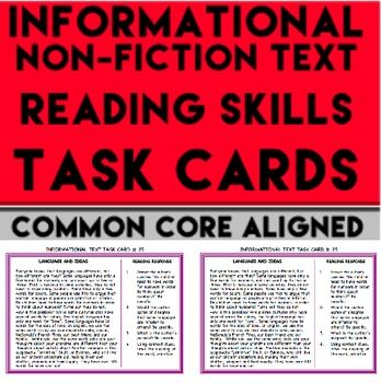 Informational Text Reading Skills Task Cards: Comprehension Questions: CCSS-aligned 35 half-page informational text task cards with 4 comprehension questions and tasks on EACH card for a total of 140 informational text questions. Also use full page version to display on projector or powerpoint slide!! Teach informational text  or nonfiction text skills for ELA test prep or literacy center ideas #nonfictiontaskcards