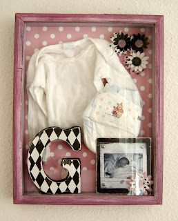 newborn baby shadow box (made one with keepsakes/photos and another with mason's