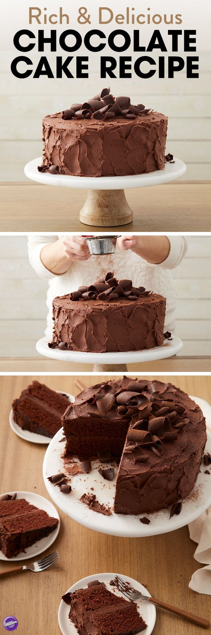 Get the recipe for this rich, delicious chocolate cake that will impress every chocolate lover at your gathering! Perfect to serve at any occasion including birthdays, showers, and anniversaries.
