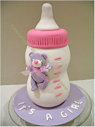 Sugarpaste Baby bottle shaped cake for Baby Shower #sugarcraft #baking #cakes