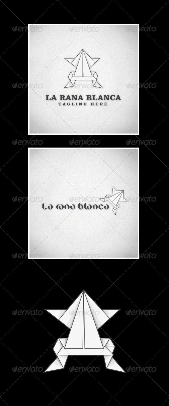 La Rana Blanca (The White Frog) by luuqas Elegant origami logo design. A white frog that can be used for a lot of different purposes. The two font used are free to download