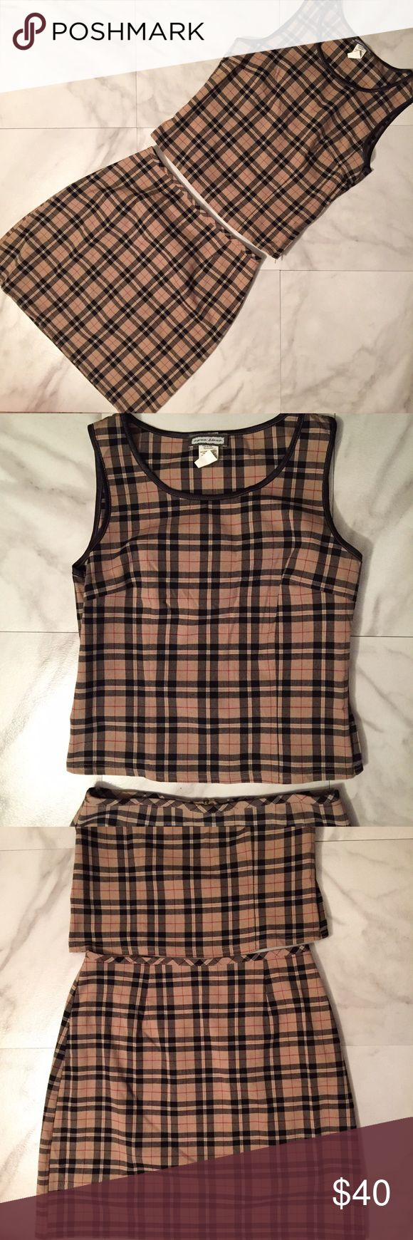 Adorable 90s Matching Plaid Skirt Set!! Absolutely adorable 90s plaid skirt and sleeveless crop top set! Major Clueless vibes with this one!! Top and skirt both have zippers! Not see through! I'm a size 8 and this fits me great! The tag size is a junior's size 9! Skirt waist measurement is 28 inches! Please feel free to ask questions! Vintage Skirts Mini