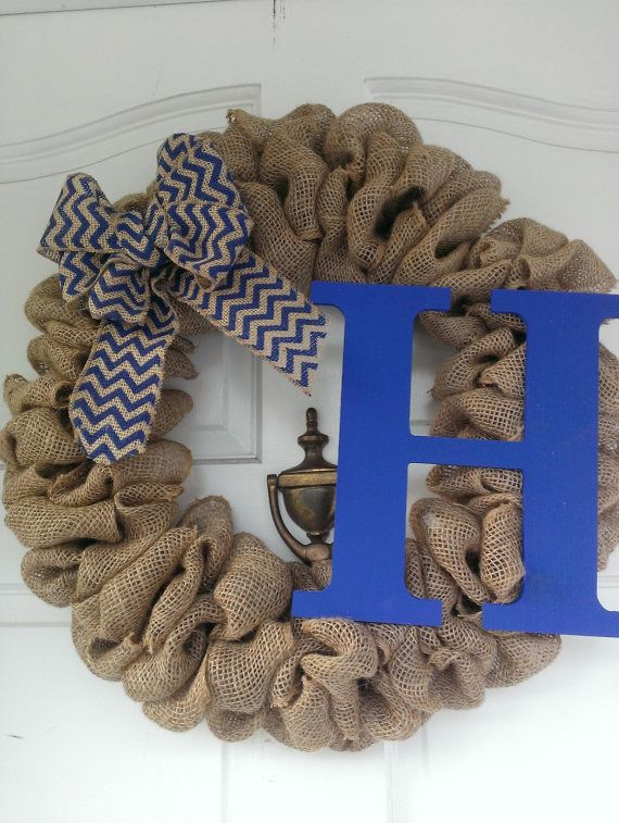 Burlap Initial wreath with chevron bow by ADCMDesign on Etsy
