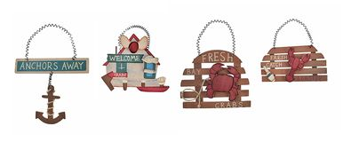 Set of 4 Small Nautical Theme Wooden Signs Kitchen Decor
