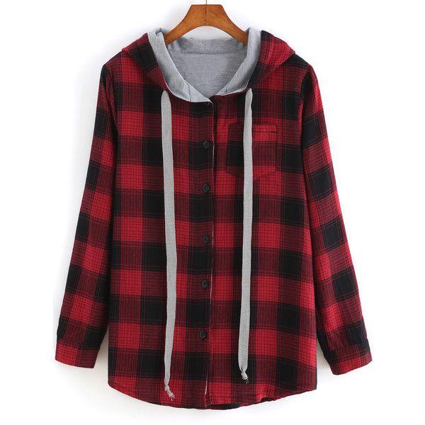 SheIn(sheinside) Red Hooded Long Sleeve Plaid Pocket Sweatshirt ($23) ❤ liked on Polyvore featuring tops, hoodies, sweatshirts, jackets, shirts, sweaters, outerwear, red, long sleeve shirts and pullover hoodies