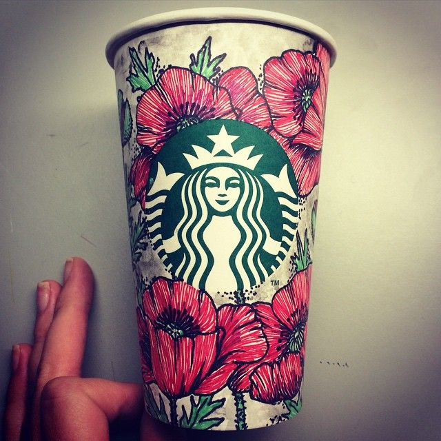 poppies on a @starbucks cup! Drawn with sharpie.